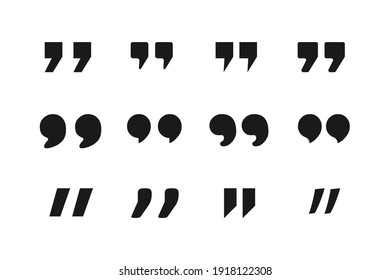 Set of quote mark. Quote black flat simple icon