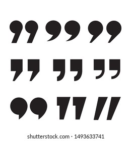 Set of quote mark, quotes icon vector sign design