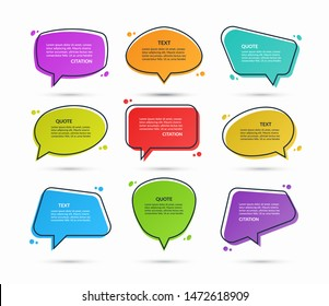 Set of quote speech bubbles, text boxes, message balloons, stickers isolated on white background. Vector illustration.