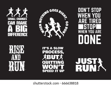 Set of quote typographical background with silhouette of running girl and man in realistic style. Vector template for card, poster, banner, print for t-shirt.