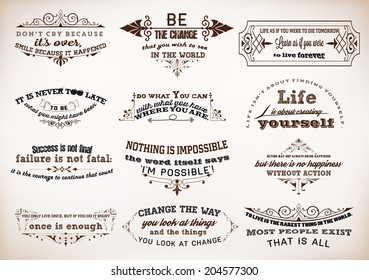 Set of Quotes Posters, Vector Design. Motivational Quotes for Inspirational Art.