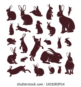 Set of Rabbit Design Vector. Silhouette of Rabbit. Vector illustration
