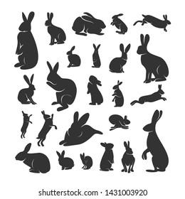 Set of Rabbit Design Vector. Silhouette of Rabbit. Vector illustration