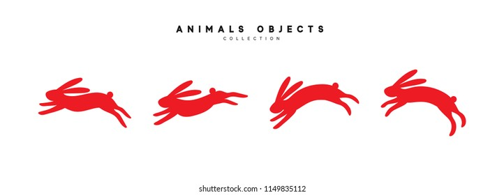 Set of rabbit illustration. Collection red bunny isolated on white background.