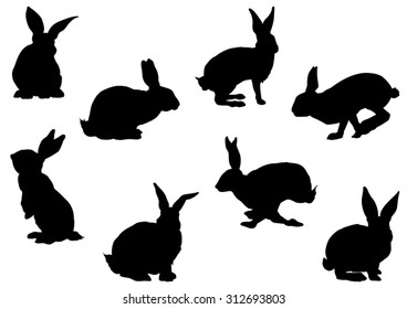 Set of Rabbit Silhouettes - Vector Image