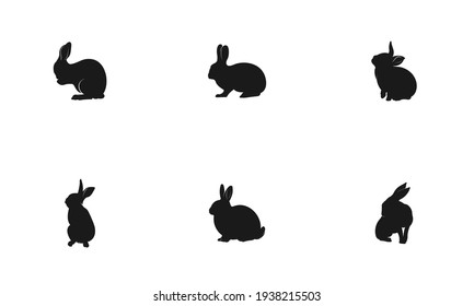a set of rabbit vectors on a white background