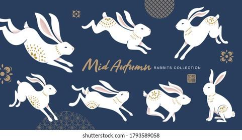 Set of rabbits design for Mid Autumn Festival