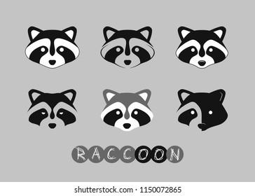 set of raccoon logos