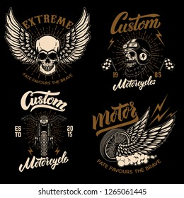 Set of racer emblem templates with motorcycle motor, wheels. wings. Design element for logo, label, emblem, sign, poster, t shirt. Vector illustration