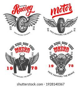 Set of the racer emblems. Winged motorcycle wheel, engine, biker skeleton. Design element for logo, label, sign, emblem, poster, t shirt. Vector illustration