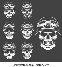 dbea9981736b Set of racer skulls isolated on white background. Design elements for logo
