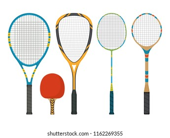 Set of rackets for squash, tennis and badminton in a flat style