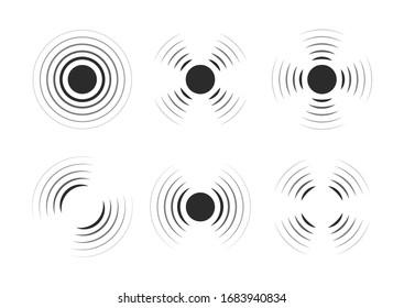 Set of radar icons. Sonar sound waves. Modern flat style vector illustration.