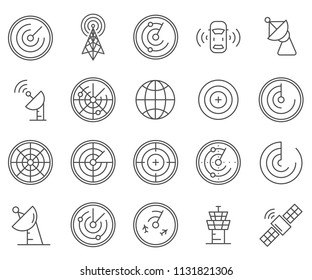Set of radar Related Vector Line Icons. Includes such Icons as signal, waveform, wave,  satellite dish and more.