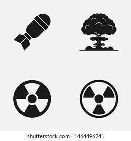 Set of radiation, nuke mushroom cloud and bomb vector icon. International Day against Nuclear Tests concept.