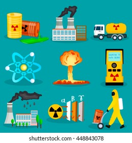 Set of radiation waste icons in flat cartoon style