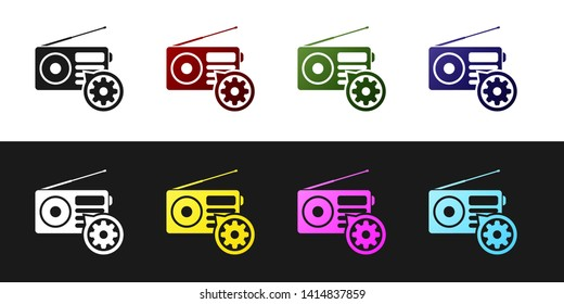 Set Radio with antenna and gear icon isolated on black and white background. Adjusting app, service concept, setting options, maintenance, repair, fixing. Vector Illustration