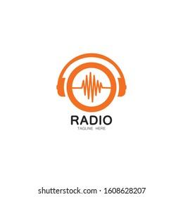 set of radio broadcast vector icon