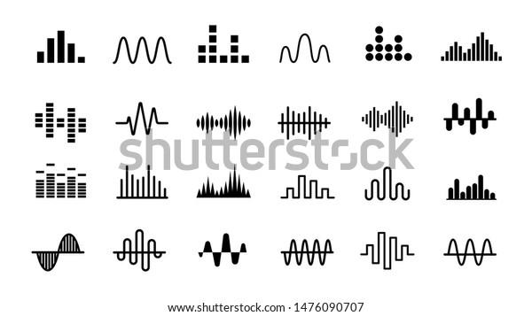 Set of Radio Wave icons. Monochrome simple sound wave on white background. Isolated vector illustration.