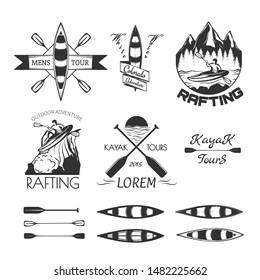 Set of rafting labels,badges and design elements. Vector illustration.