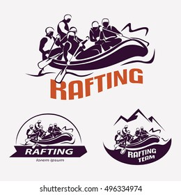 set of rafting templates for labels, emblems, badges or logos, water sports
