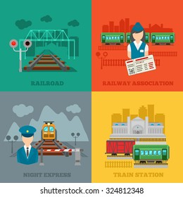 Set of railway flat concepts. Train and conductor, transport and railroad, vector illustration