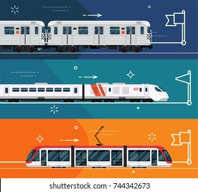 Set of railway transport horizontal banner templates with subway train, express high speed train and city urban area modern tram