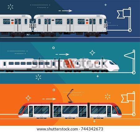 set railway transport horizontal banner templates stock vector