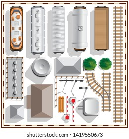 Set of railway. View from above. Isolated on white background. Vector illustration.