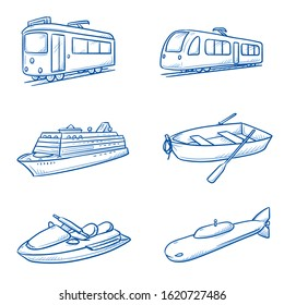 Set of rain and water vehicles, as tram, train, crusing ship, row boat, water scooter and submarine. Hand drawn line art cartoon vector illustration.