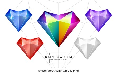 Set of rainbow color fantasy jewelry gems, heart polygon shape stone for game.