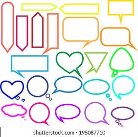 Set of rainbow frames in the form of bubbles and balloons for text