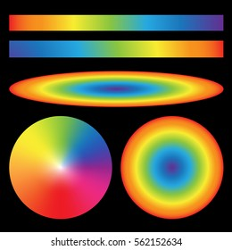 Set of rainbow gradients. Radial Ellipse linear and cone. Vector illustration.