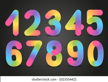 Set of rainbow numbers on dark background