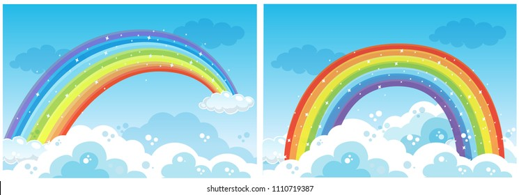 A Set of Rainbow on Sky illustration