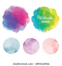 Set of rainbow watercolor paint stains vector background