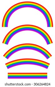 Set of rainbows with different level of arcing