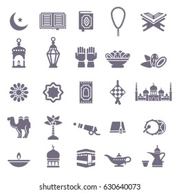 Set of Ramadan Kareem Black Icons Isolated on White Background. Vector Illustration. Quran Book, Traditional Lanterns, Crescent with Star, Mosque and Rosary, Kaaba, Holiday Food, Drum and Gun