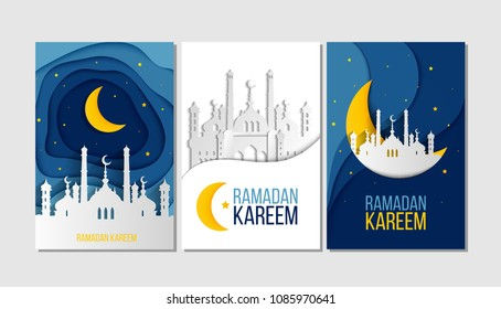 Set of Ramadan Kareem greeting cards with moon, stars, mosque and lettering. Vector Illustration EPS10. Islamic banner, poster, invitation