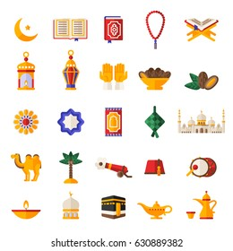 Set of Ramadan Kareem Icons Isolated on White Background. Vector Illustration. Quran Book, Traditional Lanterns, Crescent with Star, Mosque and Rosary, Kaaba, Holiday Food, Drum and Gun