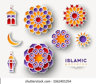 Set of Ramadan Kareem islamic geometric patterns. Paper cut flowers, traditional lanterns, moon and star. Vector illustration.