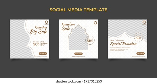 Set Ramadan Sale Square Banner Promotion Template. Suitable for Web Promotion and Social Media Template Post for Ramadan Kareem Greeting Card, Event, and etc. Vector Illustration.