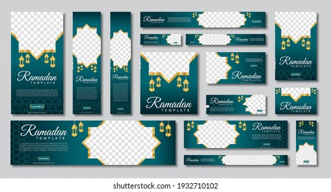 set of ramadan web banners of standard size with a place for photos. Ramadan template design. vector illustration