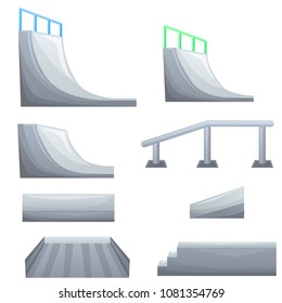 Set of ramp, roller, stairs for a skatepark. Items for skateboarding. Different objects for modern hobby and sport. Vector illustration