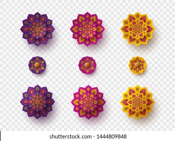 Set of rangoli for Diwali festival. Decorative 3d paper cut elements for holiday Deepawali design. Isolated on transparent, vector.