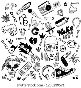 Set of rap music icons. Black isolated hip hop icon set attributes and accessories to create a hip hop style vector illustration