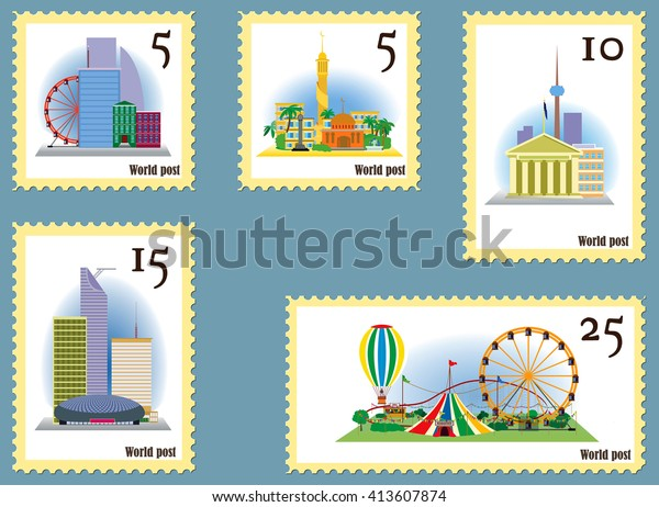 Set Rare Stamps Collectors Set Rare Stock Vector (Royalty