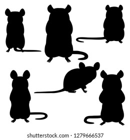 set of rat silhouettes