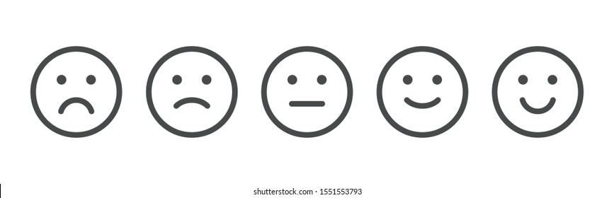 Set of rating emotion faces