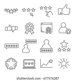 Set of rating Related Vector Line Icons. Includes such icons as top, rank, popularity, stars, reputation